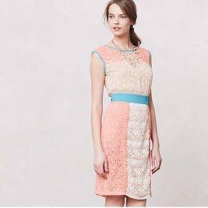 Anthropologie Champagne & Strawberry Dress